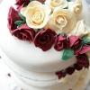 Red and White Roses Wedding Cake