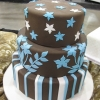 Brown and Blue Wedding Cake