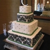 Black and Green Damask Cake