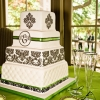 Green and Black Damask Cake
