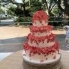 Cascading Pink Flower Wedding Cake