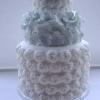Rosette and Flower Wedding Cake