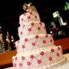 Lattice Buttercream Wedding Cake with Mickey and Minnie Cake Topper