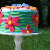 Au Revoir, Summer:  Brightly-Colored Floral Cake