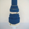 Navy Blue Wedding Cake with Pearls