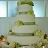 Sage Green and White Wedding Cake with Monogram