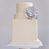 Square and Round White Wedding Cake
