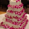 Pink and White Orchid Wedding Cake