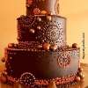 Copper and Chocolate Wedding Cake