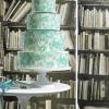 Aqua and White Marbleized White Chocolate Wedding Cake