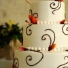 Autumn Leaves and Chocolate Swirls Wedding Cake