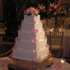 Pink Rose Petal Wedding Cake