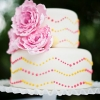 Pink and Yellow Chevron Polka Dot Wedding Cake