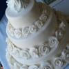 All White Roses Wedding Cake