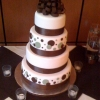Brown and Sage Polka Dot and Bow Wedding Cake