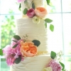 Pink and Orange Buttercream Ruffle Peony Cake
