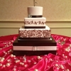 Pink and Brown Square Wedding Cake with Scrolls