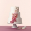 Pink Ombre Pleated Pinwheels Wedding Cake