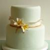 Plumeria and Ruffles Wedding Cake