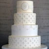 White Monogrammed Cake With Single Initial