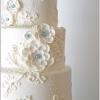 Teal Swarovski Crystals and Flowers Wedding Cake