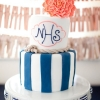 Coral and Blue Nautical Wedding Cake