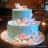 Teal Sea Shell Wedding Cake for a Key West Destination Wedding