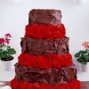 For the Guys: Geranium and Devil's Food Groom's Cake
