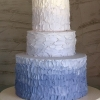 Blue Rustic-Iced Ombre Wedding Cake