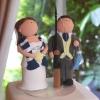Cake Topper Friday:  Soccer-Loving Bride and Fishing-Loving Groom Custom Cake Toppers
