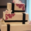 Orchid and Black Stencilled Square Wedding Cake