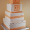 Eyelet and Pearl Peach Wedding Cake
