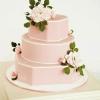 Pink Wedding Cake with White Trim