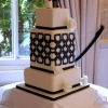 Blue Squares Geometric Design Wedding Cake