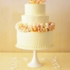 Yellow and Blush Wedding Cake with Rose Petals