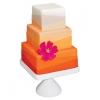 Tropical Orange and Hot Pink Wedding Cake