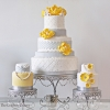 Yellow and Grey Chevron Wedding Cake