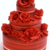 Red Show Stopping Wedding Cake with Roses