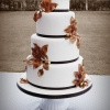 Autumn Wedding Cake with Gold Leaves