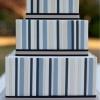 Square Vertical Striped Blue Wedding Cake