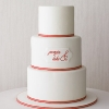Red Stripe Wedding Cake with Bride and Groom Names