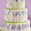 Hand-Painted Lavender Wedding Cake