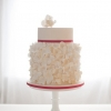 White Hydrangea Wedding Cake with Double Height Tier