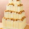 White Chocolate Panel and Golden Raspberry Square Wedding Cake