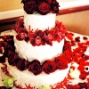 Wedding Cake with Red Roses and Orchids