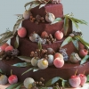 Chocolate Wedding Cake with Fruit and Chestnuts
