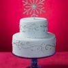 Silver Wedding Cake with Crystal Snowflake Topper