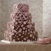 Chocolate Wedding Cake with Pink Blossoms