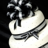 Black and White Cake with Ribbons