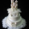 Castle Wedding Cake with Feathers